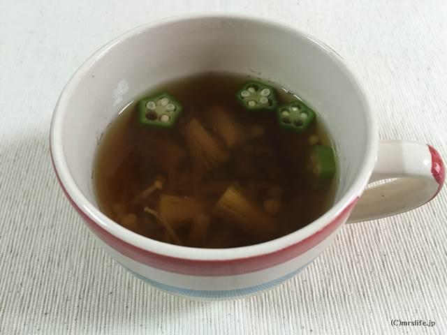 オクラとえのきのさっぱりポン酢スープ