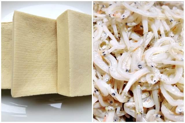 高野豆腐としらす