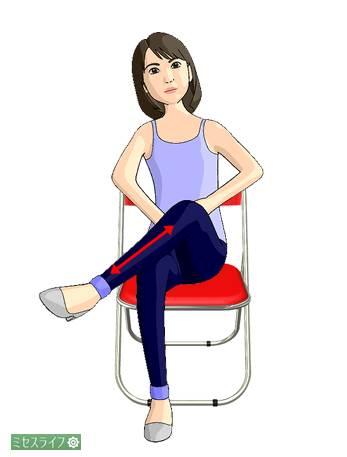 脚を組んで膝から離れないようにふくらはぎを上下する