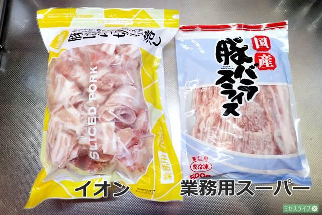イオンと業務用スーパー冷凍肉
