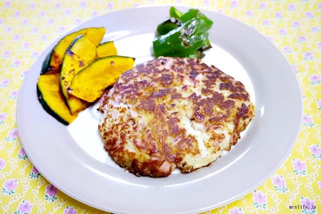 高野豆腐と魚肉ソーセージのハンバーグ