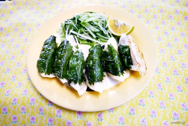 しそ巻き焼き餃子の水菜サラダ