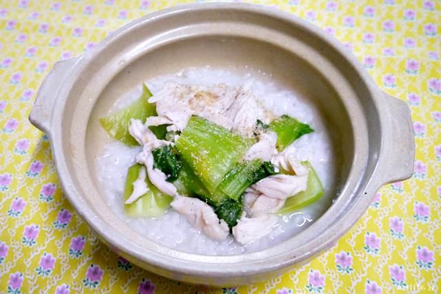 ささみとチンゲン菜の中華粥