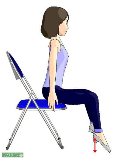 椅子に浅く腰を掛けて、つま先立ちを繰り返す