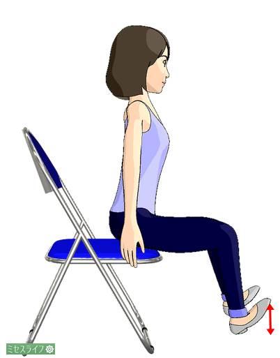 椅子に浅く腰掛け、つま先上げを繰り返す
