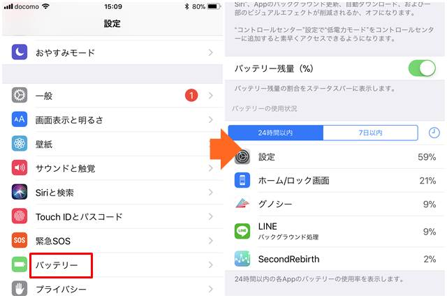バッテリーの使用状況の確認手順(iphone)